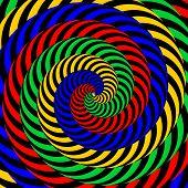 Design Colorful Whirlpool Circular Movement Illusion Background