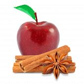 image of indian apple  - red apple and cinnamon with anise on white background - JPG