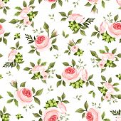 stock photo of english rose  - Vector seamless pattern with pink English roses and green leaves on a white background - JPG
