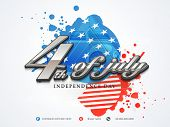 Poster, banner or flyer design with stylish text 4th of July on gunny American flag colors backgroun
