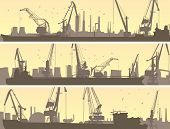 Vector Banners Of Industrial Port With Cargo Crane.