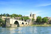image of avignon  - bridge of Avignon and The Popes Palace in Avignon  - JPG