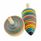 Two Wooden Spinners Isolated On White Background