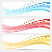 Set Of Bright Abstract Wave Lines Cards