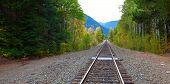 Railroad With Mountaints On The Skyline. Washington State