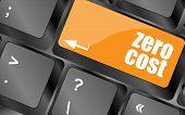 Zero Cost Button On Computer Keyboard Key