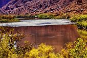 Red Brown Colorado River Reflection Abstract Moab Utah