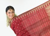 Indian girl showing her sari border