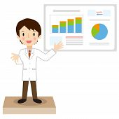 Man of white coat that has a presentation