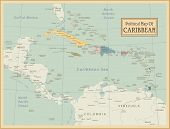 Caribbean -highly detailed map.All elements are separated in editable layers clearly labeled. Vector