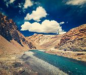 image of manali-leh road  - Vintage retro effect filtered hipster style travel image of Himalayan landscape in Hiamalayas near Baralacha La pass - JPG