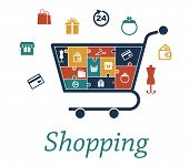 pic of gift basket  - Shopping concept puzzles with a cart filled with icons depicting a bank card - JPG