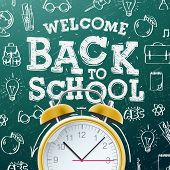 Welcome back to school sale background  with alarm clock