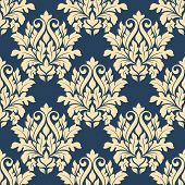 Damask style seamless pattern on blue