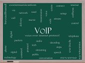 Voip Word Cloud Concept On A Blackboard