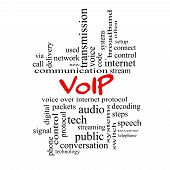 image of voip  - VOIP Word Cloud Concept in red caps with great terms such as voice internet protocol and more - JPG