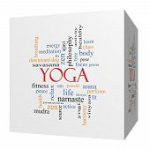 Yoga 3D Cube Word Cloud Concept