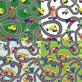 Funny Cartoon Doodle Seamless Pattern Set.child's Hand Draw Cars