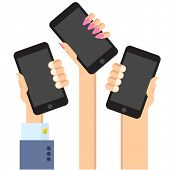 Modern and stylish retro flat vector collection  of mobile phones and digital tablet.