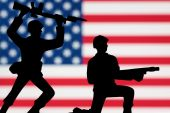 image of backstabbers  - One toy soldier kneeling while another attacks from behind - JPG