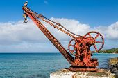 Old Rusty Red Crane In St Croix