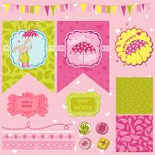 Baby Bunny Shower Theme - Scrapbook Design Elements - in vector