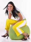 Teenage girl with yellow pants