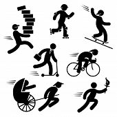 image of rickshaw  - set black and white vector icons of speed people - JPG