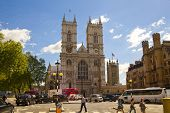 LONDON, UK - MAY 14, 2014  Westminster abbey, view from the busy road