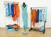 Wardrobe with complementary colors orange and blue clothes arranged on hangers.