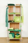 Green clothes nicely arranged on a shelf.