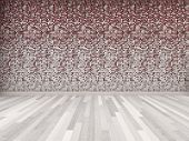Empty room with a red and white tiled wall and parquet flooring in shades of gray, architectural background