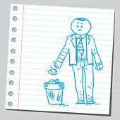Businessman throwing paper in garbage can