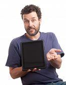 Bearded European Man Showing Tablet