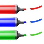 Three Colored Markers Depicting A Line On A White Background.