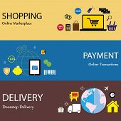 Online Internet Shopping Payment & Delivery Concept Flat Icons Set