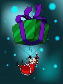 Big giftbox and Santa