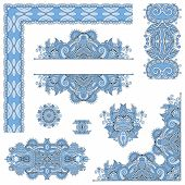 set of blue colour paisley floral design elements for page decor
