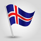 Vector 3D Waving Icelandic Flag On Pole