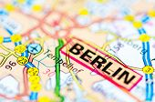 Close-up On Berlin City On Map, Travel Destination Concept