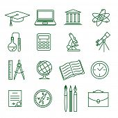 Education and science thin line vector icon set (1)
