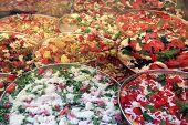 Pizzas in a showcase
