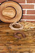 American West still life with old horseshoe, hat and cowboy lasso