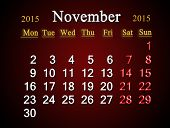 Calendar On November Of 2015 Year On Claret
