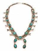 Navajo Sterling Silver and Turquoise Squash Blossom Necklace.