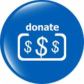 Donate Sign Icon. Dollar Usd Symbol. Shiny Button. Modern Ui Website Button
