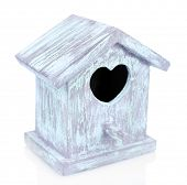 Beautiful decorative small bird house, isolated on white