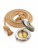 compass and ship rope isolated on white background