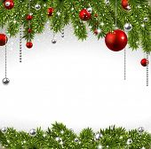 foto of christmas eve  - Winter background with spruce twigs and red baubles - JPG