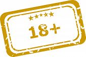 18 Plus Rubber Stamp Over A White Background